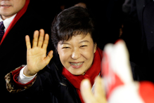 Park Geun-hye of ruling Saenuri Party waves to her supporters. Photo / AP