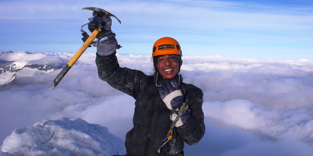 Neelusha Memom was the first legally blind athlete to complete the 243km Coast to Coast race. She has also climbed Mt Aspiring. Photo / Supplied