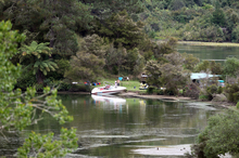 Campsite on Lake Ohakuri where victim of fatal boating accident was staying. Photo / The Daily Post