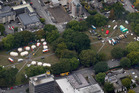 Emergency services base camps set up in Latimer Square, just days after the quake. Photo / File/ NZ Herald