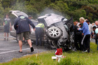 This accident at an intersection on State Highway 1 near Paraparaumu claimed the lives of Stephanie Fox, 18, and her stepfather, Lance Reilly, 39. Photo / Mark Mitchell