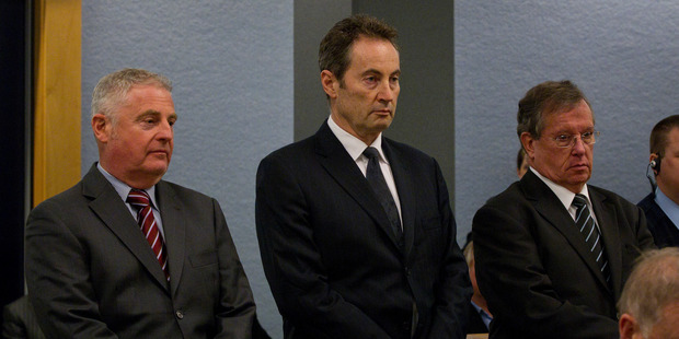 Capital and Merchant Finance's (L to R) director Wayne Douglas, director Neal Nicholls and former CEO Owen Tallentire in the dock at Auckland High Court in August. Photo / Sarah Ivey