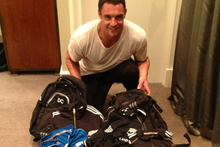 All Black Dan Carter with the gear he plans to give away to fans. Photo / Twitpic - @DanCarter