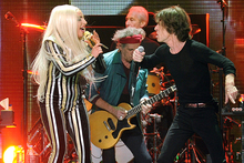 Lady Gaga, Keith Richards and Mick Jagger on stage in New Jersey. Photo/AP