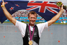 Mahe Drysdale celebrates his gold medal performance at the London Olympics. Photo / Mark Mitchell