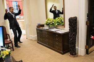 US president Barack Obama became tangled in a young spiderman's web. Photo / Supplied