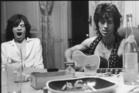 Mick Jagger (left) and Keith Richards during the recording of <i>Exile on Main Street</i>.