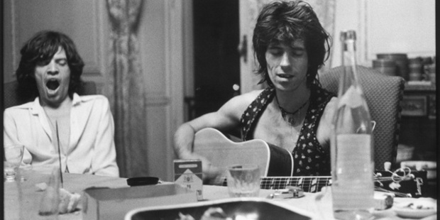 Mick Jagger (left) and Keith Richards during the recording of  Exile on Main Street .