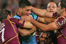 James Tamou in action for  the Blues during this year's State of Origin. Photo / Getty Images