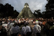 More than 7,000 people visited Tikal to see native Mayan priests hold a colourful ceremony. Photo / AFP