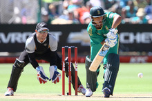 Henry Davids of South Africa and Brendon McCullum of New Zealand in action during the 3rd T20 International match. Photo / Getty