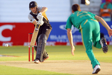 Peter Fulton of New Zealand bats off the delivery of Ryan McLaren of South Africa during the 1st T20 match between South Africa and New Zealand. Photo / Getty Images.