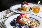 Baked apples with honey, berries and muesli for Boxing Day breakfast is a healthy start to the day.  Photo / Doug Sherring