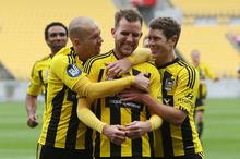 Jeremy Brockie's (centre) two goals gave Phoenix the edge. File photo / AP