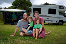 Dave and Rachel Monk, pictured at Wenderholm, have taken up a nomadic life with sons Dylan, 5, and Lewis, 4, embarking on a two-year world tour by motorhome. Photo / Sarah Ivey
