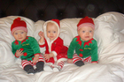 Lillie, Jackson and Willsher dressed for their first Christmas. Photo / Brett Phibbs