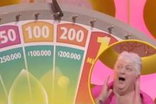 Whangarei grandmother Janice won $200,000 on the Lotto wheel on Saturday before she was startled by the glitter cannon and fell over. Photo / Supplied
