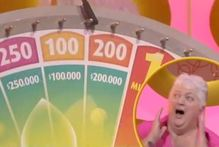 Janice reacts as she wins $200,000 on the Lotto Winning Wheel. Photo / Supplied