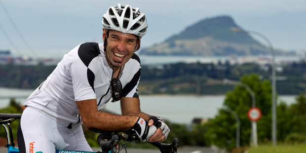 Fraser Sharp in the hills above Tauranga, where he has been in training for the half-ironman. Photo / Alan Gibson