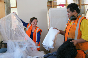 CEO Elizabeth Meaclem is hands-on at the centre, here helping Soti Enari. Photo / Supplied
