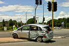 An elderly woman died in the car after it collided with another at a major intersection in Hamilton about 12.30pm today. Photo / Natalie Akoorie