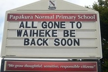 This school sign was spotted by Graham. Photo / Supplied