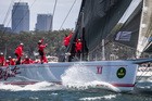Wild Oats XI was first out of Sydney Harbour at the start of the classic yesterday. Photo / Rolex Yachting