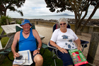 Graeme and Elaine Haworth of Cambridge, have been camping at the Takapuna Camping Ground since 1984. Photo / Brett Phibbs