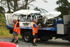 Five people were injured when two cars collided on SH1 south of Wellsford yesterday, causing delays for holiday traffic. Photo / Chris Gorman 