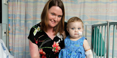 Twelve-month-old liver transplant patient Dylan Consolo with her donor and aunty, Fern Woolridge Hyett. Photo / Michael Craig