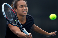 Great Britain No 1 Heather Watson is in Auckland and was hard at work yesterday practising for next week's ASB Classic. Photo / Brett Phibbs