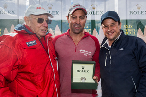 From left, Wild Oats XI owner Bob Oatley and Wild Oats XI skipper Mark Richards with Patrick Boutellier of Rolex Australia. Photo / Rolex Yachting