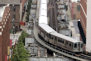 Chicago's 19th-century elevated railroad is called The Loop, even though it's rectangular. Photo / AP