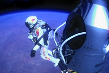 Felix Baumgartner jumped from space in a freefall that broke the speed of sound. Photo / AP