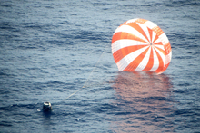 An unmanned Dragon freighter during its splashdown, after leaving the International Space Station. Photo / AP