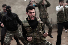 Syrian rebels attend a training session in Maaret Ikhwan, near Idlib, Syria. Photo / AP