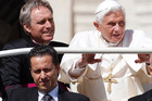 Pope Benedict XVI, right, arrives in St. Peter's square at the Vatican for a general audience as his then-butler Paolo Gabriele. Photo / AP