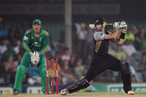 New Zealand's Martin Guptill heads towards his Twenty20 century against South Africa. Photo / AP
