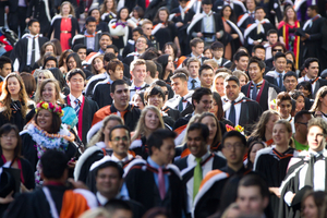 Critics say honorary degrees, such as the one awarded to All Black captain Richie McCaw, are a publicity stunt overshadowing the achievements of graduating students. Photo / Richard Robinson