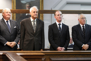 Lombard Finance and Investments directors during their sentencing at the High Court in March. Photo / Mark Mitchell