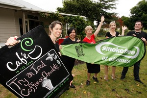Tarewa Park cafe staff celebrate being the first smokefree cafe in the country. Photo / John Stone