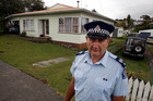Dargaville Police Senior Sergeant Rob Nordstrom outside the Tirarau Street property where where two police officers were allegedly assaulted by partygoers. Photo / John Stone