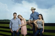 Jesse Metcalfe (left) with other members of the Dallas cast. Photo / Supplied