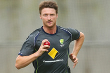 Jackson Bird of Australia bowls during an Australian training session. Photo / Getty Images