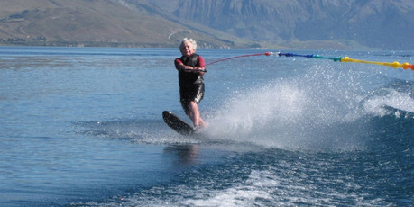 Wanaka grandmother Pat Stuart water-skiing around Lake Hawea. Photo / Lucy Ibbotson