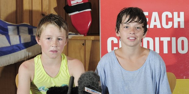 Will White (left) and Sergio Schuler saved the life the life of a man who almost drowned near Waihi beach. Photo / George Novak