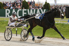 I Can Doosit winning the NZ Trotting FFA. Photo / Getty Images
