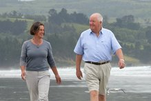 Sir Julian Smith, here with Lady Beverly, says he is proud to continue to live and work in Dunedin.  Photo / APN