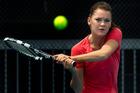 Pole Agnieszka Radwanska practises yesterday. Picture / Brett Phibbs