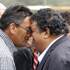 Mana leader Hone Harawira and Labour MP Parekura Horomia greet each other at Te Tii Marae. Photo /  Natalie Slade